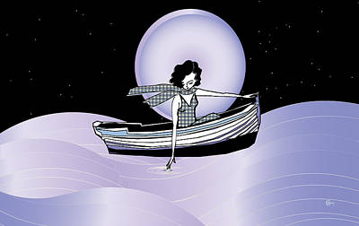 Lilac Drawing - Midnight Moonlit Sail by Cecely Bloom