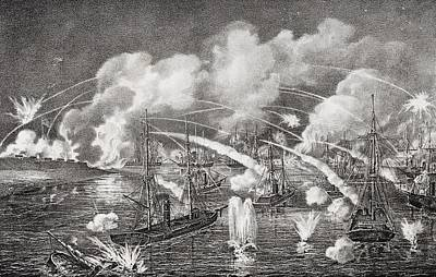 South Louisiana Drawing - Midnight Naval Bombardment Of Fort by Vintage Design Pics