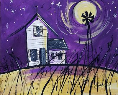 Painting - Midnight On The Farm by Terri Einer