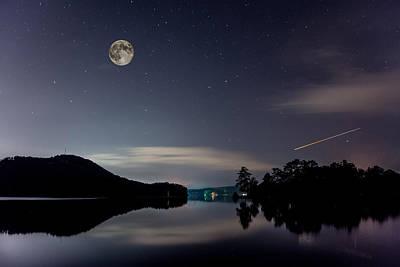 Carter Lake Photograph - Midnight Reflection On The Lake by Andrew Savasuk