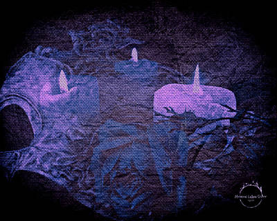 Digital Art - Midnight Romance Magic - Blue Violet by Absinthe Art By Michelle LeAnn Scott