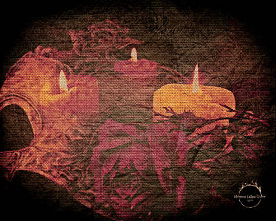Digital Art - Midnight Romance Magic - Rose Gold by Absinthe Art By Michelle LeAnn Scott
