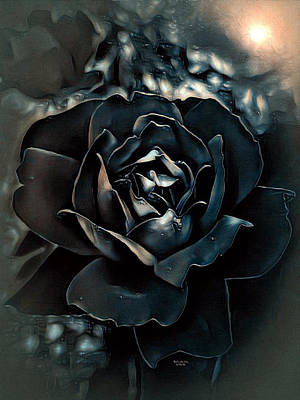 Digital Art - Midnight Rose by Artful Oasis