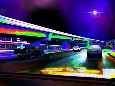 Traffic Light Digital Art - Midnight Run - Austin To San Antonio by Wendy J St Christopher