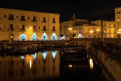 Photograph - Midnight Silence And Solitude - Syracuse Sicily Illuminated Waterfront by Georgia Mizuleva