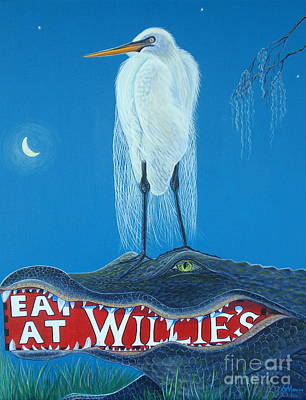 Louisiana Alligator Painting - Midnight Snack Aka Eat At Willies by Aimee Mouw