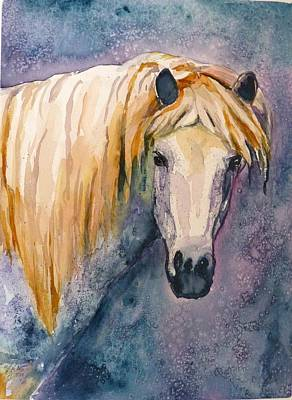Art Print featuring the painting Midnight Stallion by P Maure Bausch
