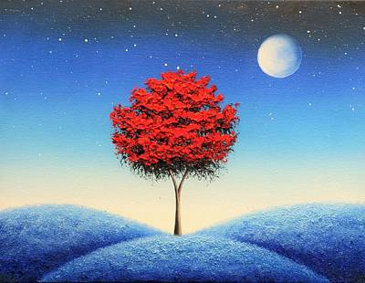 Modern Tree Painting - Midnight Story by Rachel Bingaman