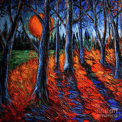 Painting - Midnight Sun Wood 2 by Mona Edulesco