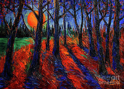 Pine Trees Painting - Midnight Sun Wood by Mona Edulesco