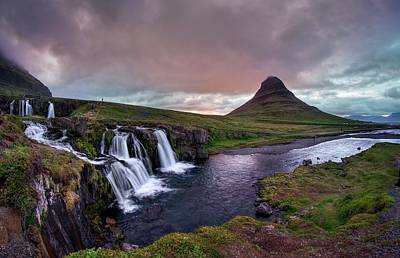 Photograph - Midnight Sunset At Kirkjufellsfoss by Quality HDR Photography