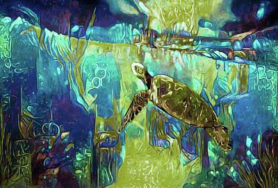 Aquatic Life Mixed Media - Midnight Swim by Susan Maxwell Schmidt