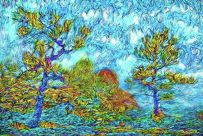 Digital Art - Midnight Swirly Blue - Colorado Mountain Pines by Joel Bruce Wallach