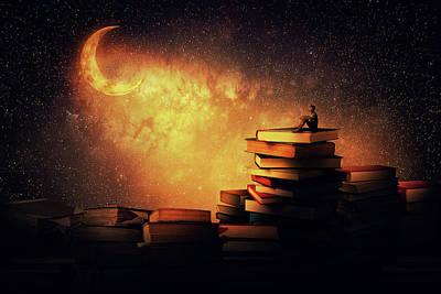 Library Digital Art - Midnight Tale by Psycho Shadow
