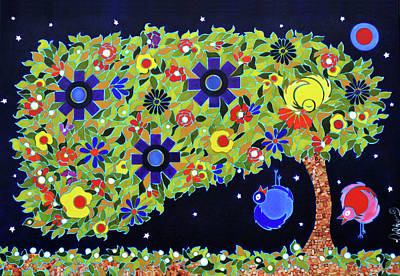 Painting - Midnight Under The Flower Tree Iv by Jenny Valdez