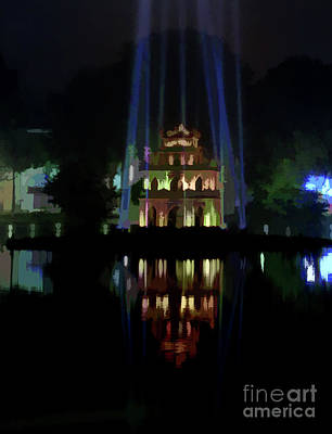 Kiem Photograph - Midnight Vietnam Hoan Kiem Lake  by Chuck Kuhn