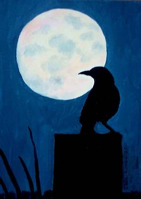 Painting - Midnight Watch - Raven And Moon by Julie Brugh Riffey