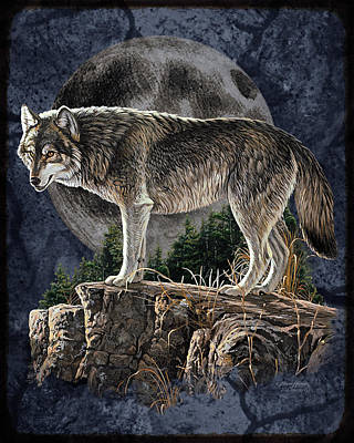 Moon Wall Art - Painting - Midnight Wolf by JQ Licensing