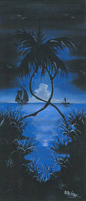 Moonlit Night Painting - Midnite by Herold Alveras
