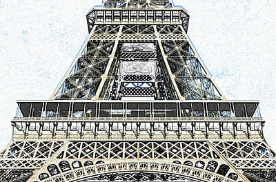 Digital Art - Midsection First And Second Levels Of The Eiffel Tower Paris France Colored Pencil Digital Art by Shawn O'Brien
