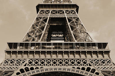 Photograph - Midsection First And Second Levels Of The Eiffel Tower Paris France Sepia by Shawn O'Brien
