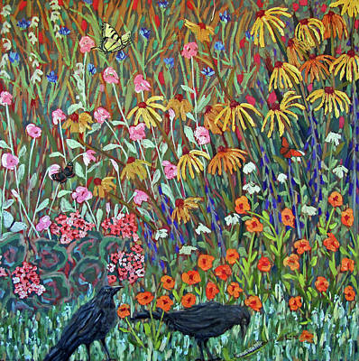 Painting - Midsummer Enchantment- Diptych Side A by Susan  Spohn