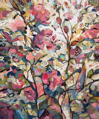 Abstract Pattern Painting - Midsummer Hollyhocks by Jen Norton