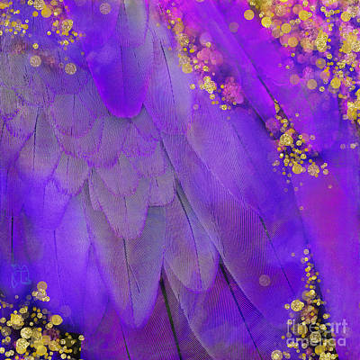 Macaw Digital Art - Midsummer Magik Fantasy, Purple Macaw Feathers, Gold Sparkles by Tina Lavoie