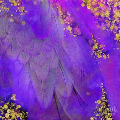 Midsummer Magik Fantasy, Purple Macaw Feathers, Gold Sparkles Art Print