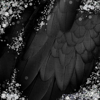 Midsummer Magik Quicksilver, Diamonds, Abstract Feathers, Silver Sparkles Art Print