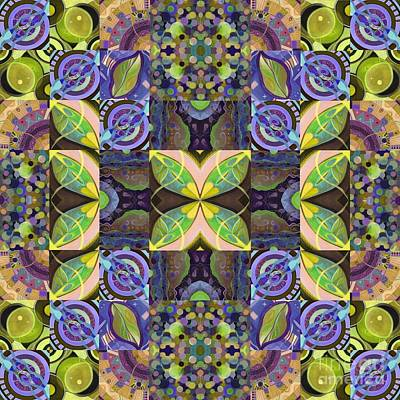 Mixed Media - Midsummer Night Magic - A T J O D Mandala Series Puzzle 7 Arrangement 2 Variation by Helena Tiainen