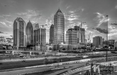 Photograph - Midtown Atlanta Dusk B W Atlanta Construction Art by Reid Callaway