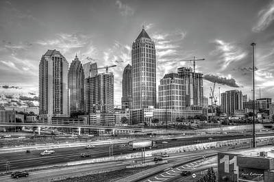 Photograph - Midtown Atlanta Dusk Too B W  Atlanta Construction Art by Reid Callaway