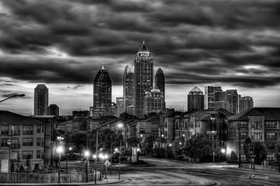 High School Of Art And Design Photograph - Midtown Atlanta Towers Over Atlantic Commons Black And White Art by Reid Callaway