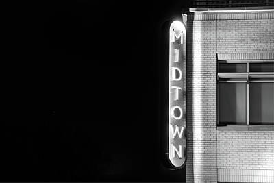Photograph - Midtown Bentonville Neon Black And White - Cityscape by Gregory Ballos