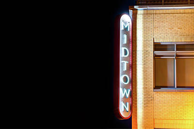 Photograph - Midtown Bentonville Neon Color - Cityscape by Gregory Ballos