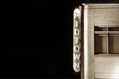 Photograph - Midtown Bentonville Neon In Sepia - Cityscape by Gregory Ballos