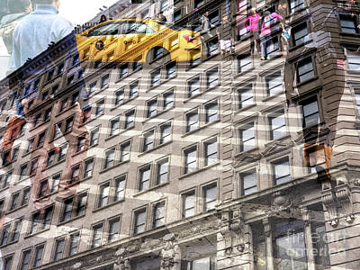 Photograph - Midtown Buildings Double Exposure by John Rizzuto