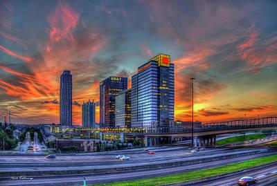 Photograph - Midtown Atlanta Fire Atlantic Station Sunset Art by Reid Callaway