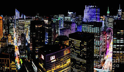 Photograph - Midtown Manhattan At Night by M G Whittingham