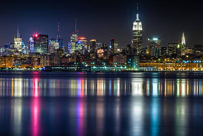 Midtown Manhattan From Jersey City At Night Art Print