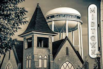 Arkansas Photograph - Midtown Neon On The Bentonville Arkansas Square - Sepia by Gregory Ballos