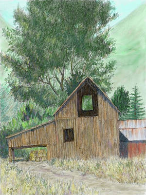 Digital Art - Midway Barn Colorized by David King
