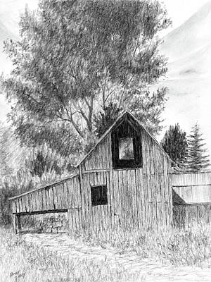 Rural Landscapes Drawing - Midway Barn by David King