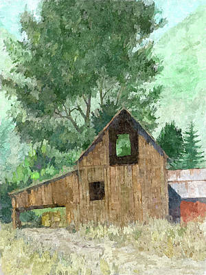Dilapidated Barn Digital Art - Midway Barn Dop by David King