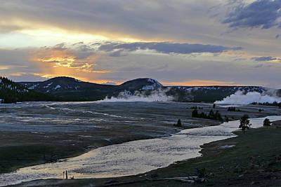 Photograph - Midway Basin, Firehole River Dusk 08 by Jeff Brunton