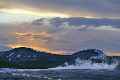 Photograph - Midway Basin, Firehole River Dusk 10 by Jeff Brunton