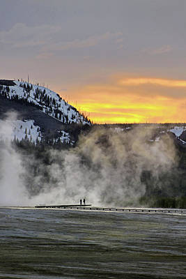 Photograph - Midway Basin, Firehole River Dusk 14 by Jeff Brunton