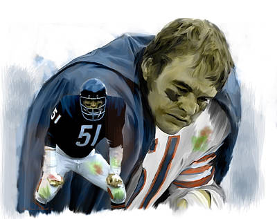 Chicago Bears Painting - Midway  Dick Butkus by Iconic Images Art Gallery David Pucciarelli