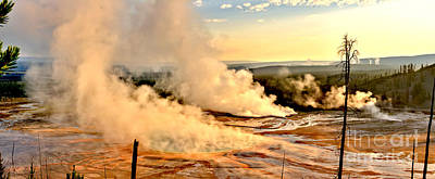 Photograph - Midway Geyser Basin Steamy Sunrise by Adam Jewell